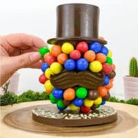 Personalised M & M's Chocolate Head Hat & Moustache - ideal gift Dad, Daddy, Grandad, Superhero